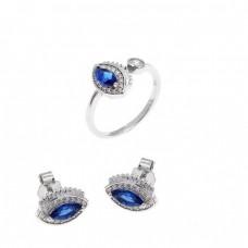 Ασημένιο σετ δαχτυλίδι, σκουλαρίκια σε σχήμα μάτι