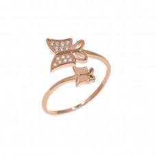 Ασημένιο δαχτυλίδι ανοιχτό με πεταλούδες