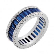 Ασημένιο δαχτυλίδι βέρα με μπλέ ζιργκόν