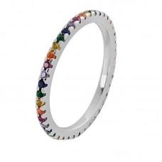 Ασημένιο δαχτυλίδι βέρα με πολύχρωμα ζιργκόν