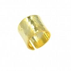 Ασημένιο δαχτυλίδι βέρα σφυρήλατη επιχρυσωμένη