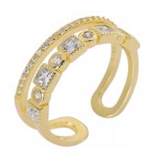 Ασημένιο δαχτυλίδι διπλό ανοιχτό επίχρυσο