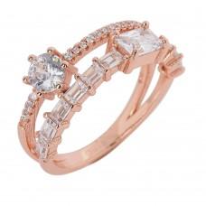 Ασημένιο δαχτυλίδι διπλό σε ροζ επιμετάλλωση