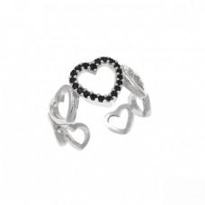 Ασημένιο δαχτυλίδι με καρδιές