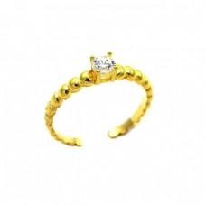 Ασημένιο δαχτυλίδι μονόπετρο ανοιχτό με ζιργκόν