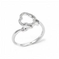 Ασημένιο δαχτυλίδι σταυρός με ζιργκόν