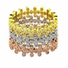 Ασημένιο δαχτυλίδι τριπλό με ζιργκόν