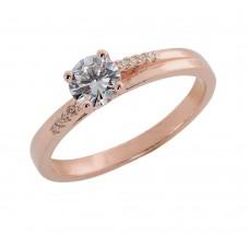 Δαχτυλίδι από ροζ επιχρυσωμένο ασήμι με ζιργκόν