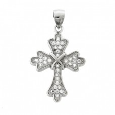 Ασημένιος σταυρός μενταγιόν διακοσμημένος με ζιργκόν