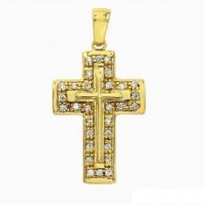 Μενταγιόν σταυρός επιχρυσωμένος με ζιργκόν