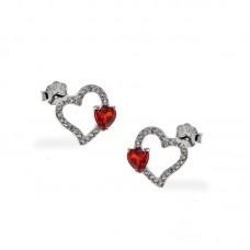 Ασημένια σκουλαρίκια παιδικά σε σχήμα καρδιά