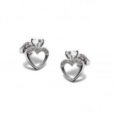 Σκουλαρίκια ασημένια καρδιά με ζιργκόν