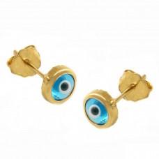 Σκουλαρίκια ασημένια μάτι επίχρυσα