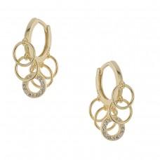 Ασημένια σκουλαρίκια κρίκοι με κύκλους