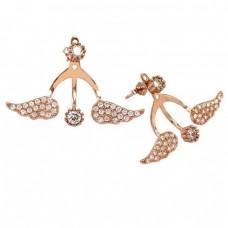 Ασημένια σκουλαρίκια σε σχήμα φτερό, με ρόζ επιχρύσωση