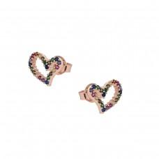 Καρφωτά ασημένια σκουλαρίκια καρδιά