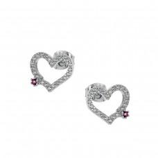Καρφωτά ασημένια σκουλαρίκια καρδιά με ζιργκόν