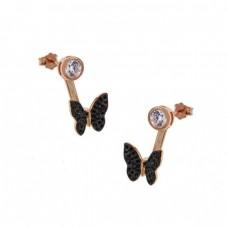 Καρφωτά ασημένια σκουλαρίκια σε σχήμα πεταλούδα