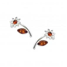 Καρφωτά σκουλαρίκια ασημένια μαργαρίτα με κεχριμπάρι
