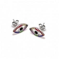 Καρφωτά σκουλαρίκια ασημένια μάτι με πολύχρωμα ζιργκόν