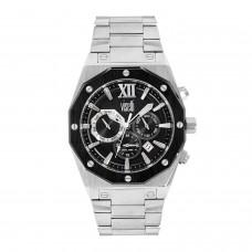 Ανδρικό ρολόι με μπρασελέ και μαύρο καντράν