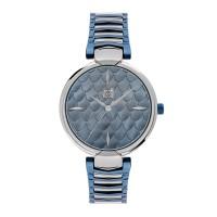 Ρολόι με μπρασελέ ατσάλινο δίχρωμο γαλάζιο ασημί