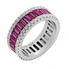 Ασημένιο δαχτυλίδι βέρα με φούξια ζιργκόν