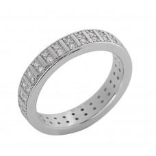 Ασημένιο δαχτυλίδι βέρα με ζιργκόν επιπλατινωμένο