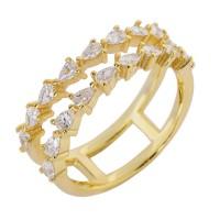 Ασημένιο δαχτυλίδι διπλό επίχρυσο με ζιργκόν