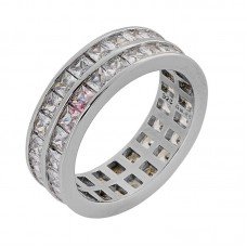 Ασημένιο δαχτυλίδι διπλό με ζιργκόν επιπλατινωμένο
