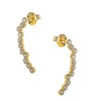 Ασημένια σκουλαρίκια επίχρυσα με ζιργκόν