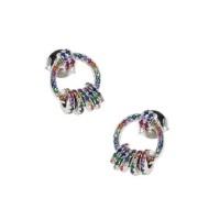Ασημένια σκουλαρίκια κρίκος με ροδέλες και ζιργκόν
