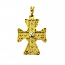 Βυζαντινός σταυρός μενταγιόν 9,25 ασημένιος επιχρυσωμένος