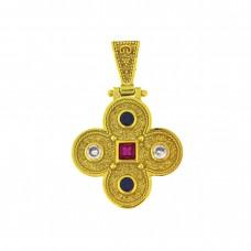 Επίχρυσος σταυρός βυζαντινός ασημένιος 9,25