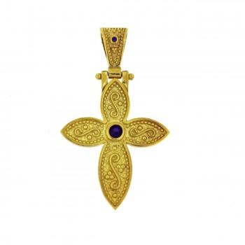Μενταγιόν βυζαντινός σταυρός ασημένιος επιχρυσωμένος