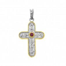 Μενταγιόν σταυρός βυζαντινός με δίχρωμη επιμετάλλωση