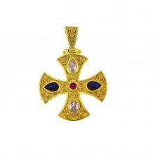 Σταυρός ασημένιος βυζαντινός με ζιργκόν