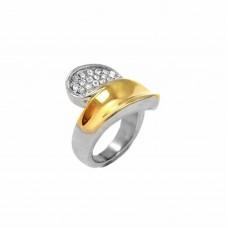Δαχτυλίδι ατσάλινο δίχρωμο με ζιργκόν