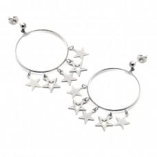 Σκουλαρίκια ατσάλι κρίκοι με αστέρια