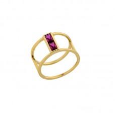 Ασημένιο επίχρυσο δαχτυλίδι με φούξια ζιργκόν