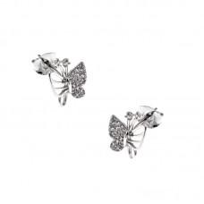 Ασημένια παιδικά σκουλαρίκια πεταλούδα
