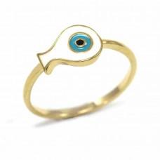 Παιδικό δαχτυλίδι ασημένιο ψάρι με μάτι