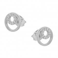 Καρφωτά σκουλαρίκια ασημένια σε σχήμα κύκλος
