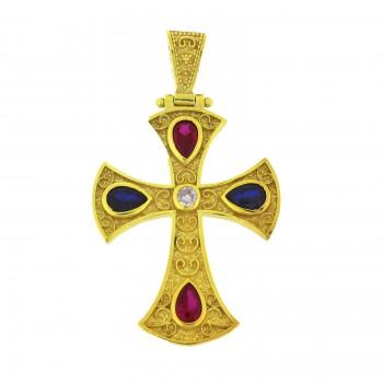 Ασημένιος σταυρός βυζαντινός επίχρυσος