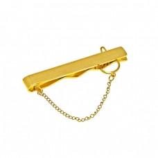 Ατσάλινο κλίπ γραβάτας σαγρέ επίχρυσο σε χρυσό