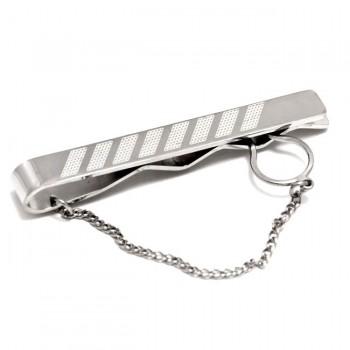 Κλίπ γραβάτας ατσάλινο ρόδιο με σαγρέ