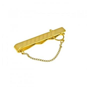 Κλίπ γραβάτας ατσάλινο χρυσό σαγρέ