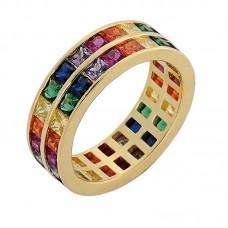 Δαχτυλίδι διπλό βέρα με πολύχρωμα ζιργκόν