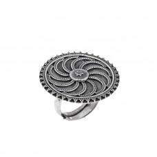 Ασημένιο δαχτυλίδι δίσκος οξυντέ
