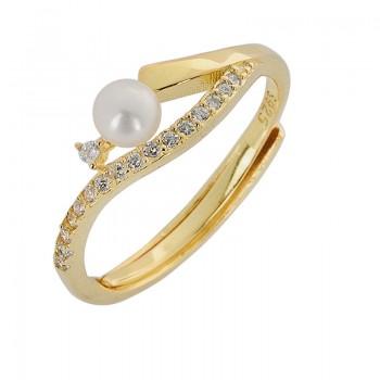 Δαχτυλίδι ασημένιο με πέρλα ΚΟΣΜΗΜΑΤΑ
